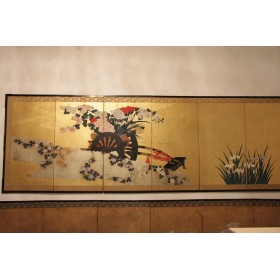 Антикварный Экран шести створчатый, Японский антиквариат период Мейдзи (Мэйдзи)
