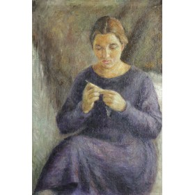 Советская живопись. Картина За вязанием