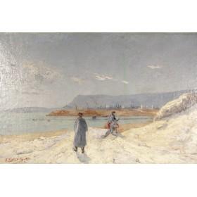 Антикварная картина На берегу, старинная живопись