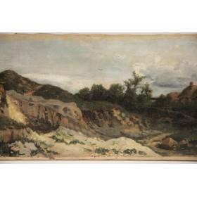Антикварная картина Хутор, старинная живопись