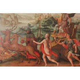 Антикварная живопись Фландрия 16 век картина Хронос