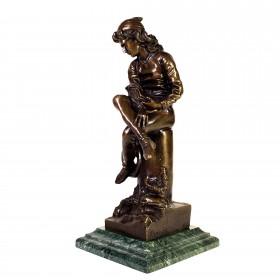 015 Антикварная бронзовая скульптура Отрочество Колумба