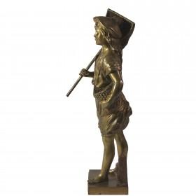 016 Антикварная бронзовая скульптура Юный ловец креветок
