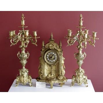 Большие антикварные каминные часы с канделябрами РОКОКО