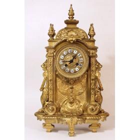038 Купить большие антикварные каминные часы с каделябрами РОКОКО