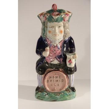 1870 Антикварный кувшин Toby Jug Англия керамика