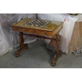 Старинный Викторианский шахматный стол, английская антикварная мебель