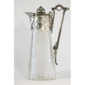 Продается старинное стекло - Английский кувшин с посеребрением