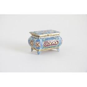 Столовое серебро,  серебряная курильница в стиле Русская эмаль,- купить