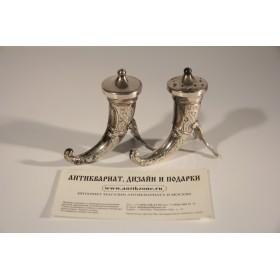 2228 Антикварная солонка и перечница Норвегия серебро