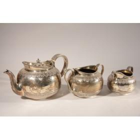 2230 Антикварный чайный сервиз Листья Англия серебро
