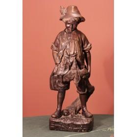 Антикварная бронзовая статуэтка деревенского мальчика