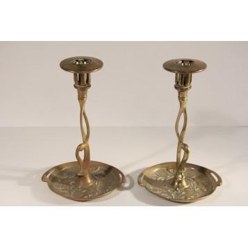 Антикварные парные подсвечники из бронзы, стиль Модерн