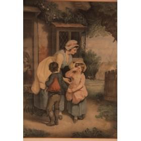"""Старинная пара  английских гравюр """"Дети"""",XIX век"""