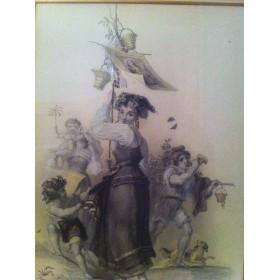 Антикварная гравюра с изображением девушки,Англия, XIX век