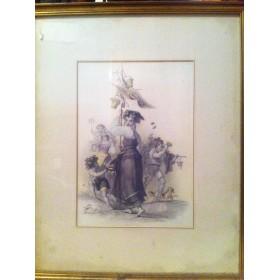 Антикварная гравюра с изображением девушки купить