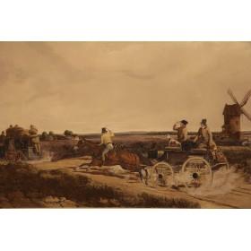 """Парные старинные гравюры """"Экипажи"""",Англия, 1848 г."""