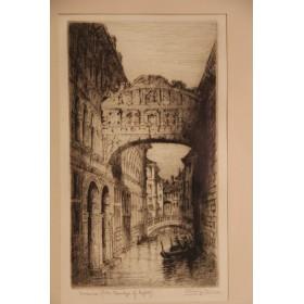 Старинная гравюра художника Brewer Венеция купить в подарок