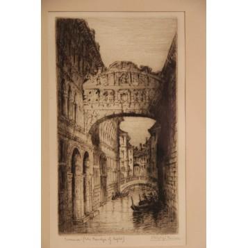 """Старинная гравюра """"Венеция"""" художника J. Alphege Brewer"""