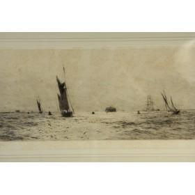 Английская старинная гравюра художника William Lionel Wyllie