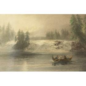 """Викторианская старинная гравюра """"На реке"""",Англия, XIX век"""