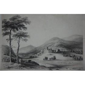 Антикварная гравюра Замок в Шотландии