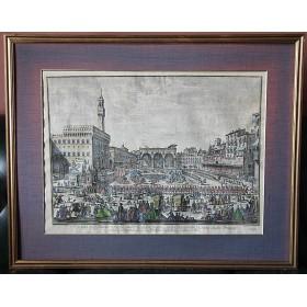 005 Антикварная гравюра Палаццо Веккьо Флоренция