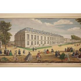 Продается антикварная гравюра Променад в парке 18 века