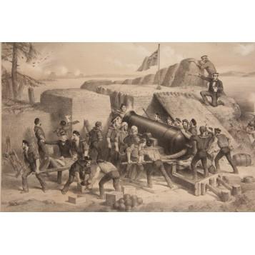 Старинная английская гравюра о битве за Севастополь