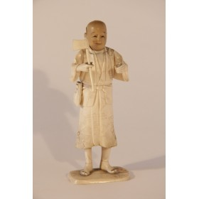 Старинное японское окимоно Антикварная статуэтка из кости КРЕСТЬЯНИН