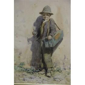 Антикварная акварель художник Arthur Alfred Burrington