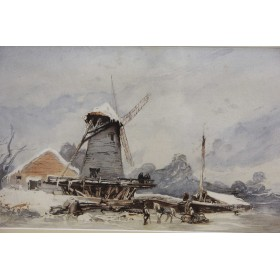 Старинная акварель Snow Scene, Англия, 1840 год