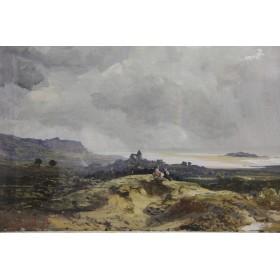 Старинная картина акварель художника Сэма Боуи - Виды Дауна