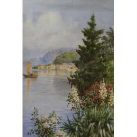 Старинный пейзаж акварелью Вид на залив художник Vian S,XIX век