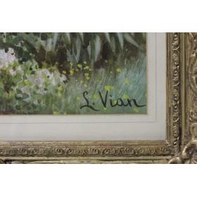 Vian S Старинный рисунок акварелью Пейзаж с видом на залив