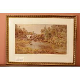 Антикварный рисунок акварелью. Английский пейзаж неизвестный художник