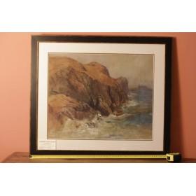 Антикварная картина - акварель. Морской пейзаж. John Rankine Barclay