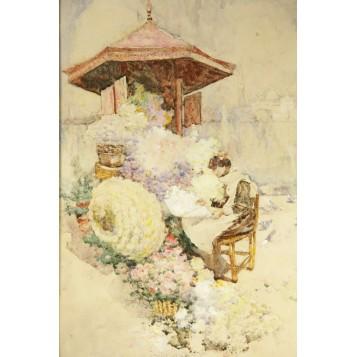 """Антикварная картина """"Читающая девушка"""" художника Woodlock David"""