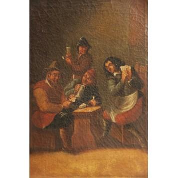 """Старинная картина """"Сцена в таверне"""",XIX век"""
