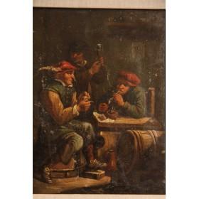 """Старинная картина """"Сцена в таверне"""" художника J. Van Myn,1834 год"""