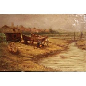 Антикварная живопись Бонд Уильям Джозеф Устье реки