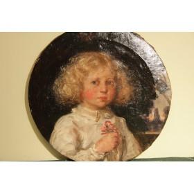 Старинный портрет девочки с букетиком цветов