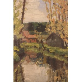 R. Durand Старинный рисунок маслом Английский пейзаж