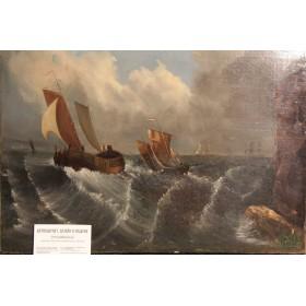 Старинный морской пейзаж Побережье Дурхама художник Undrews