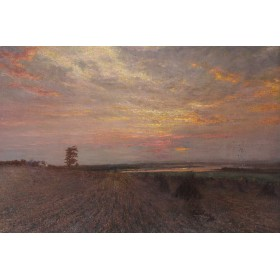 "Антикварная картина ""Вечерний пейзаж"",художник Чарльз Смит,XIX век"