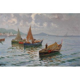 """Итальянская школа живописи,старинная картина """"Рыбацкие лодки"""""""