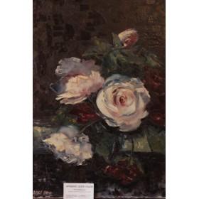 Антикварный английский натюрморт с розами