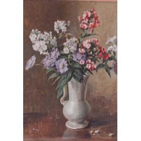 Антикварный английский натюрморт с цветами  (Evans T.S.)