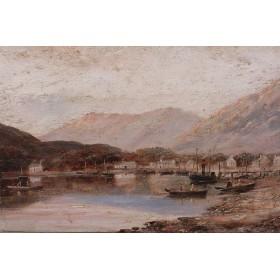 Антикварная живопись пейзаж с лодками. Английская живопись
