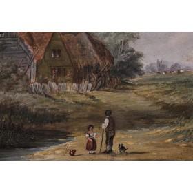 Антикварная картина сельский пейзаж. Английская живопись